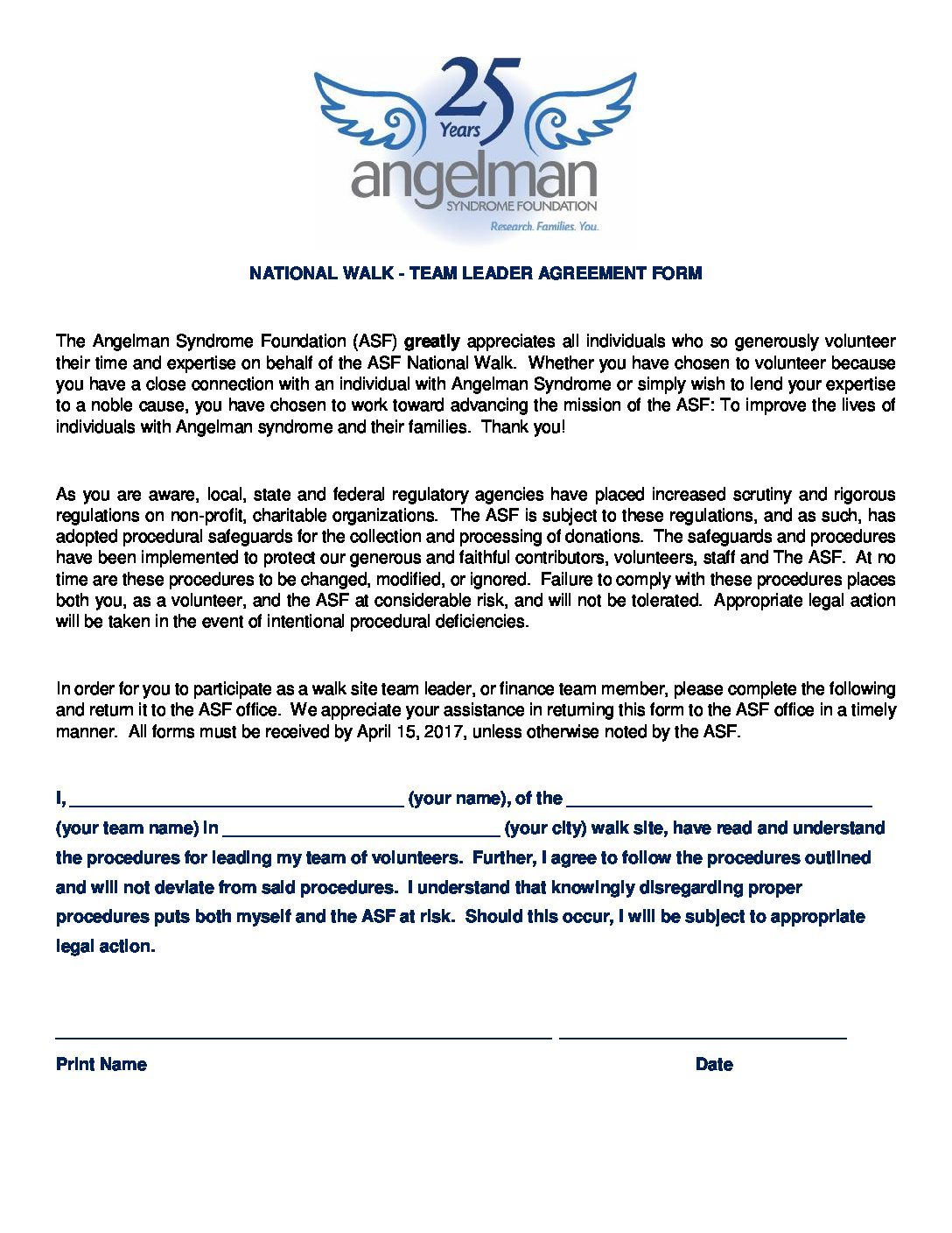 NATIONAL WALK - TEAM LEADER AGREEMENT FORM The Angelman