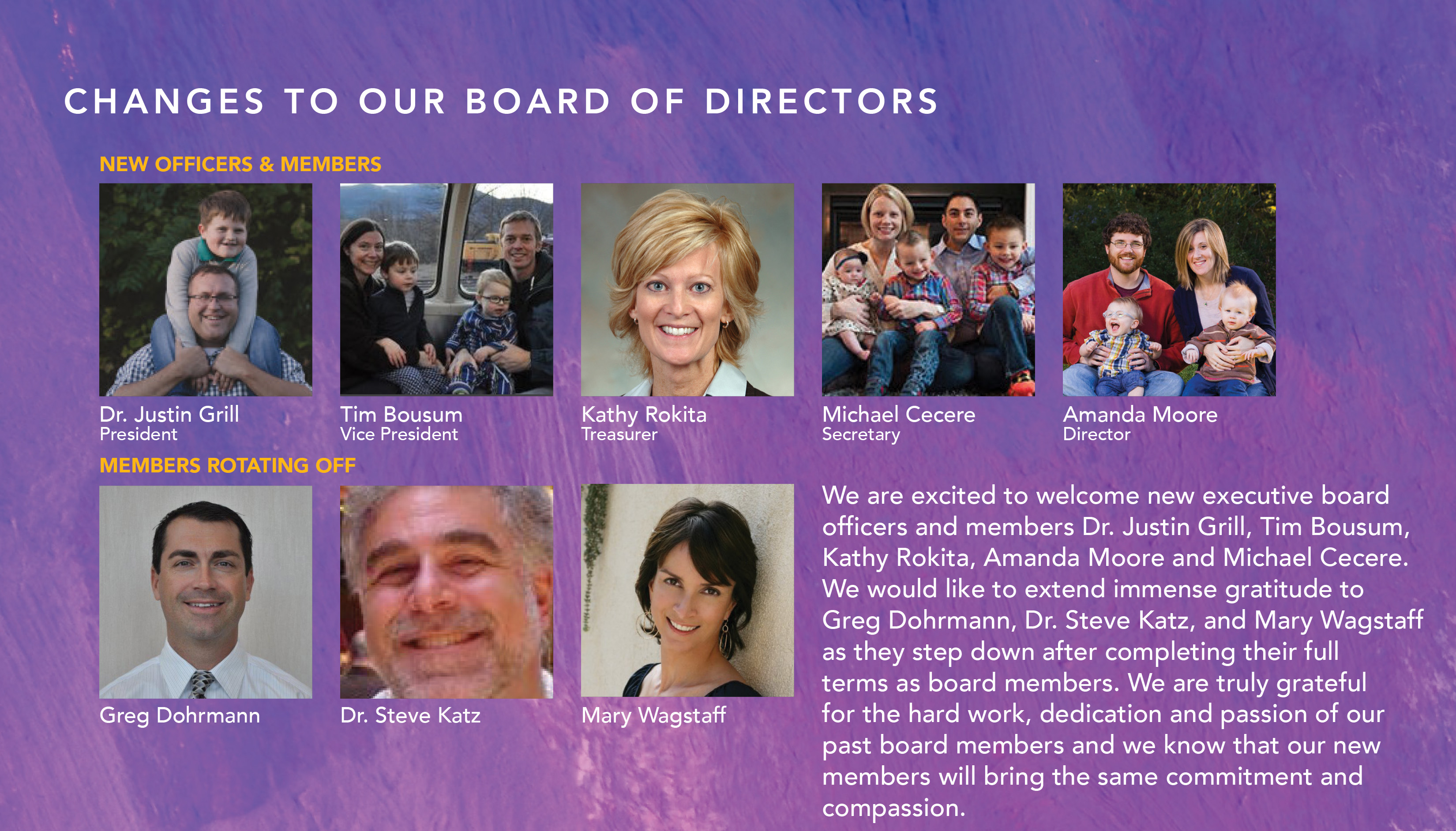 CHANGES TO OUR BOARD OF DIRECTORS