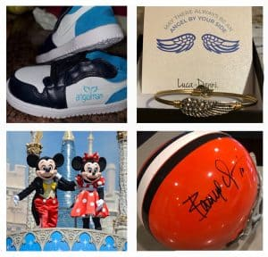 Trip to Disney, custom ASF cleats, signed Browns helmet and angel jewelry