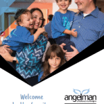 Brochure cover featuring a family with 2 boys diagnosed with AS