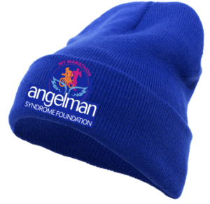 blue cap with My Marathon logo on the front