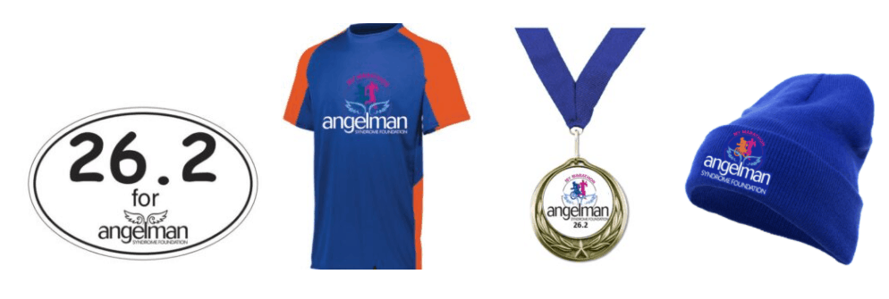 26.2 decal, race medal, blue beanie hat and blue and orange race shirt>